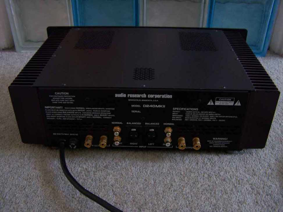 Audio Research D240MK2 back 2
