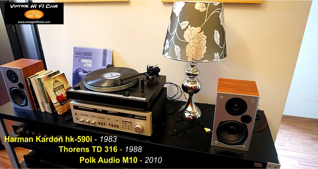 Vintage shop System 3 Harman Kardon 430+Polk Audio+Thorens manifesto no scritte